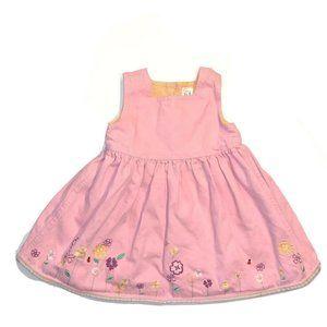 Gap Pink Denim dress Embroidered Jumper 18 mths